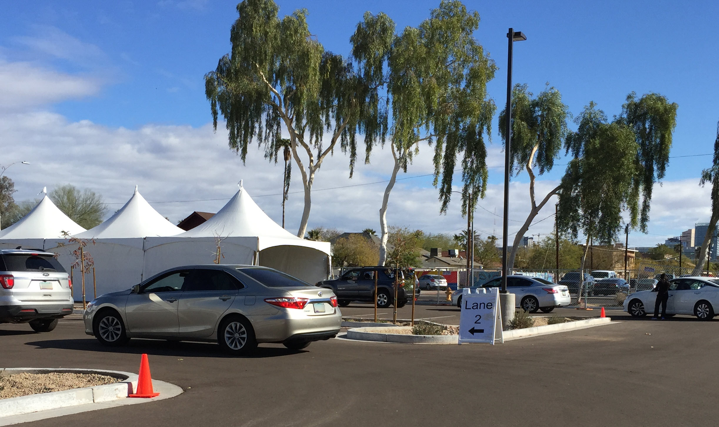 image of the Arizona Department of Administration parking lot converted to a vaccination site.
